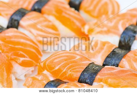 Detailed photo of tasty salmon nigiri sushi