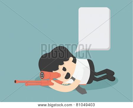 Businessman Sniper Vector, Eps10
