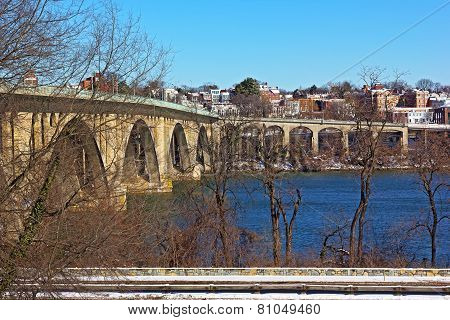 Key Bridge and a view on Georgetown suburb in winter Washington DC.