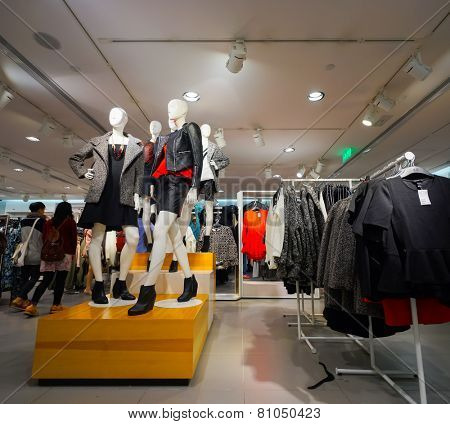 HONG KONG - OCT 18: shop interior on October 18, 2014 in Hong Kong. In Hong Kong a wide selection of clothing boutiques, designer flagship stores, restaurants, and even daily shows and exhibitions