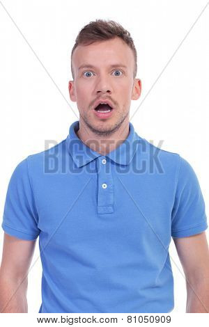portrait of a shocked young casual man looking into the camera. isolated on a white background