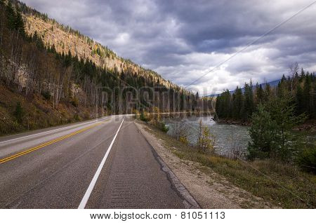 Tarred Highway Running Through Forested Mountains