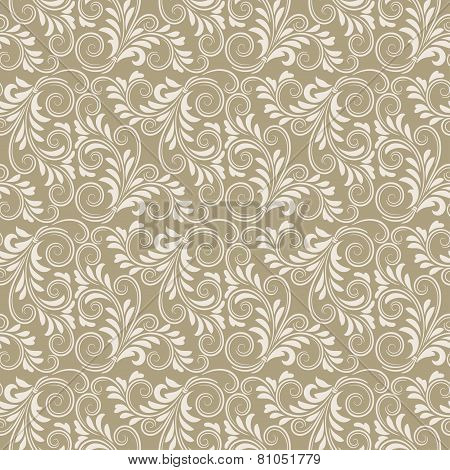 Beige baroque floral pattern