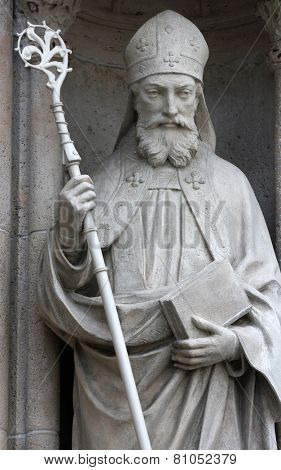 ZAGREB, CROATIA - SEP 25: statue of Saint Cyril on the portal of the cathedral dedicated to the Assumption of Mary and to kings Saint Stephen and Saint Ladislaus in Zagreb on Sep 25, 2013.