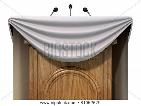 Press Conference Podium With Draping