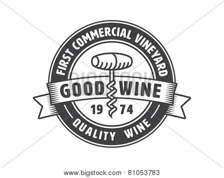 Vintage badge or logo template with corkscrew for winery. Vector illustration