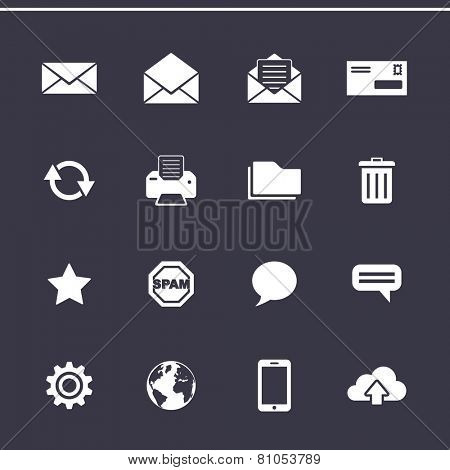 Email marketing icons. E-mail service control panel. Vector icons