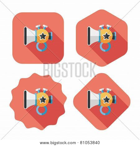 Trumpet Or Horn Toy Flat Icon With Long Shadow,eps10