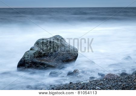 Horizontal dark coastal shoreline