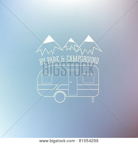 Rv And Caravan Park Template. On Nice Blue Background. Can Be Used As Logo, Badges Banner, Poster, F