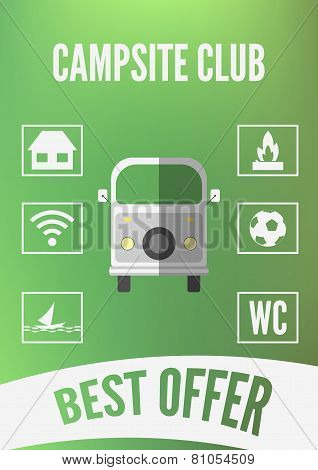 Campsite Club Promotion Infographic With Retro Car And White Icons. Flat Design