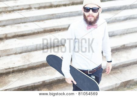 Young Guy With Skateboard