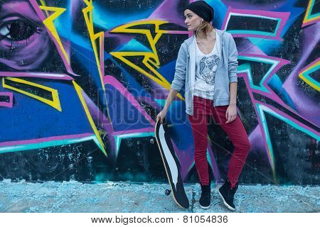 Street Girl With Skateboard