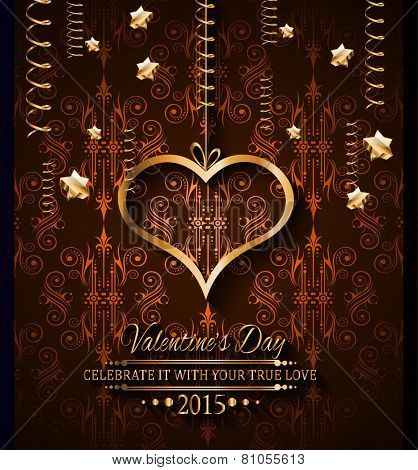 Valentines Day background for dinner invitations, romantic letterheads, book covers, poster layout or couple themed parties.
