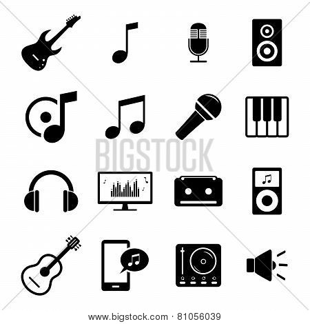 Collection of flat media icons - audio, musical instruments and sound related symbols