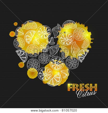 Isolated Heart Of Citrus On A Dark Background