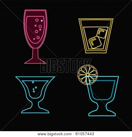 Neon Cocktail Glasses - Illustration