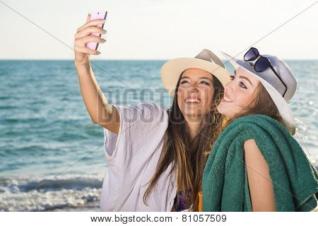 Pretty Girls At The Beach Taking Selfie