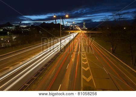 Busy road in Munich, Germany, at night
