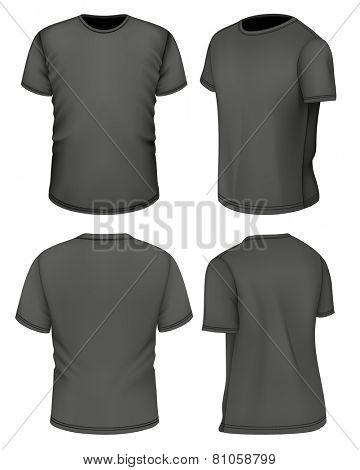 Men's black short sleeve t-shirt design templates. Photo-realistic vector illustration.