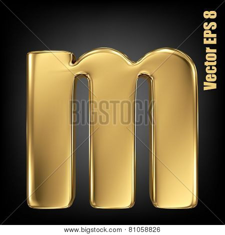 Vector letter m from gold solid alphabet. Lowercase golden font collection. EPS 8