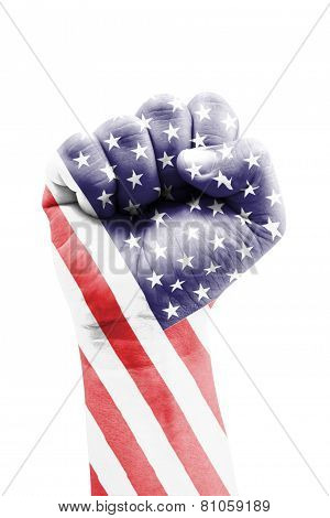 United States Of America Flag Fist Painted Isolated On White.