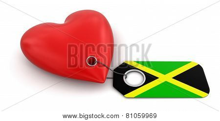 Heart with Jamaican flag (clipping path included)