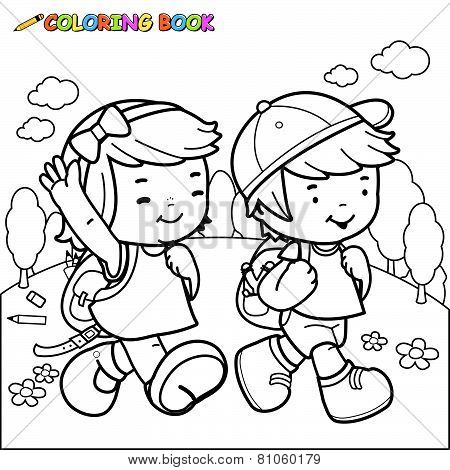 Coloring book kids walk to school