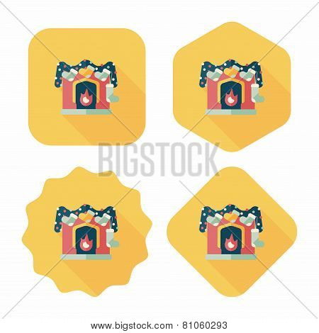 Christmas Fireplace Decoration Flat Icon With Long Shadow Eps10