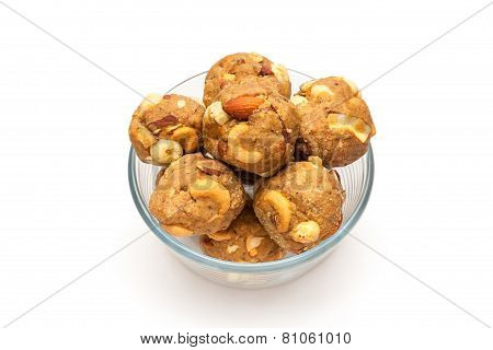 Homemade sweet laddoo in glass bowl