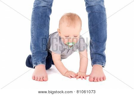 Little Baby Boy Toddler And Mother's Legs Isolated On White