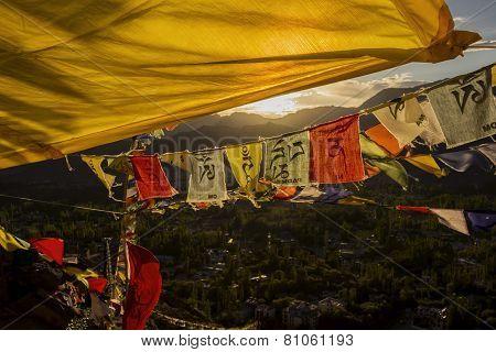 Player flag on the top of Namgyal Tsemo Monastery Leh Ladakh ,India