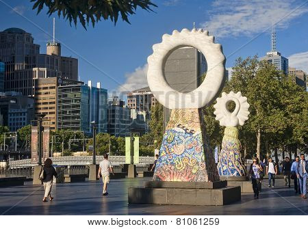 Melbourne, Australia - January 13, 2015: People Walking In The C