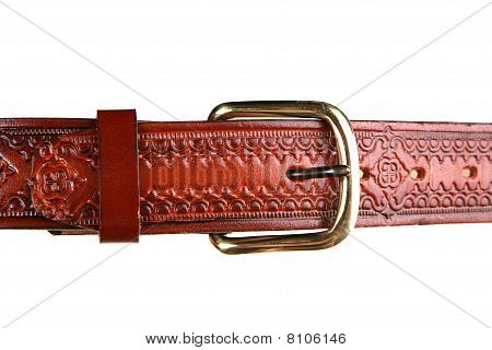 Closeup of western style leather belt