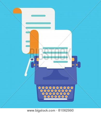 Typewriter With Sheet Of Paper. View Top. Vector Flatstyle