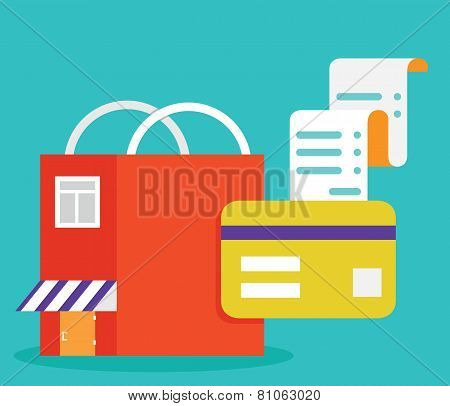 Vector Flat Illustration Of Payments By Card. Mobile Electronic Payments