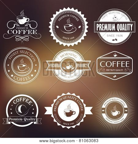 Vintage retro coffee logo badges and labels