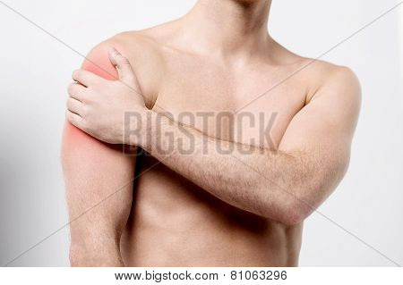 Muscular Man Discomfort On Shoulder