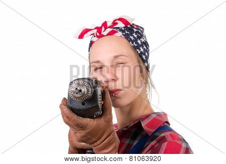 Vintage Pretty Young Woman With A Drill