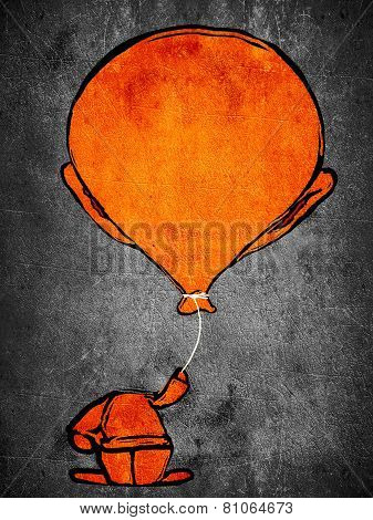 Orange Man With Ballon Head