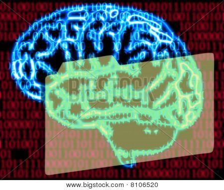 Humans Brain And Binary Code