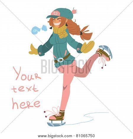 Vector cartoon Girl on Skates.