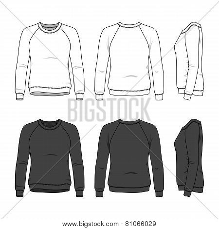 Front, Back And Side Views Of Blank Sweatshirt