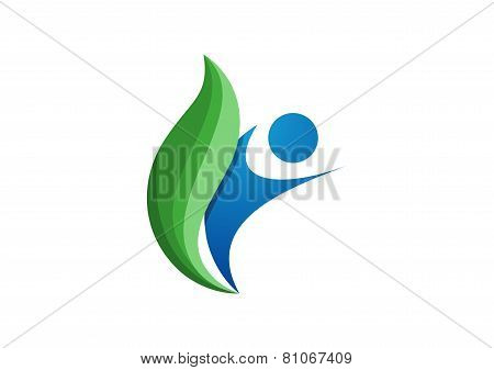 wellness nature people logo, fitness symbol design vector