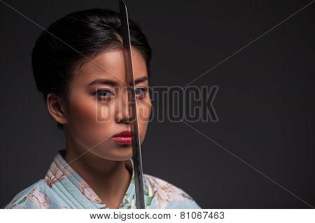 Japanese woman with katana