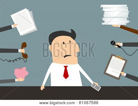 Stressed cartoon businessman has a lot of work
