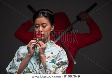 Japanese woman with rose