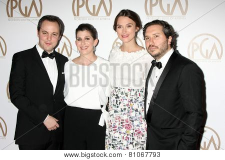 LOS ANGELES - JAN 24:  Ido Ostrowsky, Nora Grossman, Keira Knightley, Teddy Schwarzman at the Producers Guild of America Awards 2015 at a Century Plaza Hotel on January 24, 2015 in Century City, CA