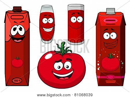 Cartoon tomato vegetable, juice packs and glasses