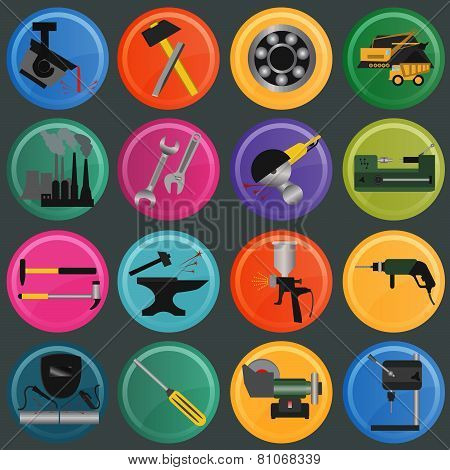 Set of metal working tools icons.